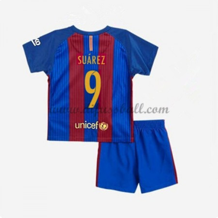 kindertrikot Barcelona 2016-17 Suarez 9 Kurzarm Heim Fußball Trikotsatz Kinder Günstig
