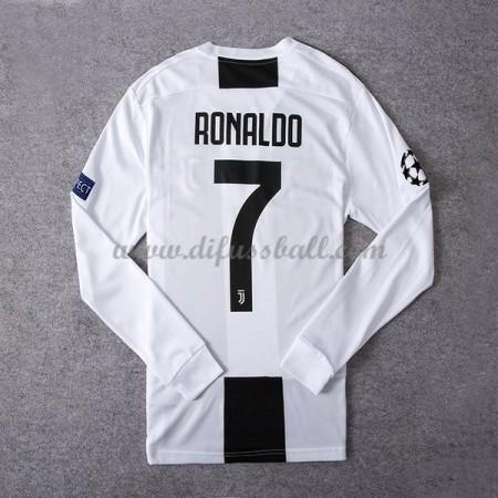Fussballtrikots Günstig Juventus 2018-19 Cristiano Ronaldo 7 Heimtrikot Langarm