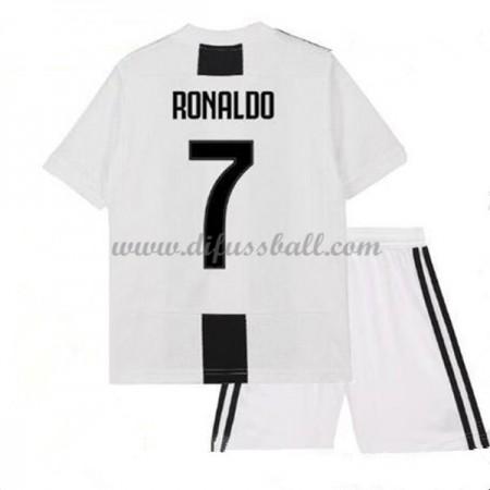 Juventus Fußballtrikots Kinder 2018-19 Cristiano Ronaldo 7 Heim Trikotsatz Kurzarm