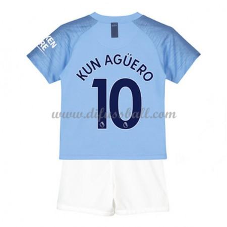 Manchester City Fußballtrikots Kinder 2018-19 Kun Aguero 10 Heim Trikotsatz Kurzarm